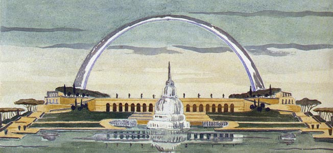 A watercolor depiction of a monumental arch, artificial lake, and a fountain at EUR, published by an Italian tourist company. The great arch was never built.