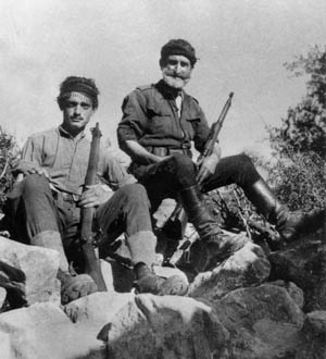 One of the most famous Cretan guerrillas was George Psychoundakis (left) with a bearded compatriot (right). He survived the war, wrote a book titled Cretan Runner, and was decorated for his part in the Cretan Resistance movement. One of the most famous Cretan guerrillas was George Psychoundakis (left) with a bearded compatriot (right). He survived the war, wrote a book titled Cretan Runner, and was decorated for his part in the Cretan Resistance movement.