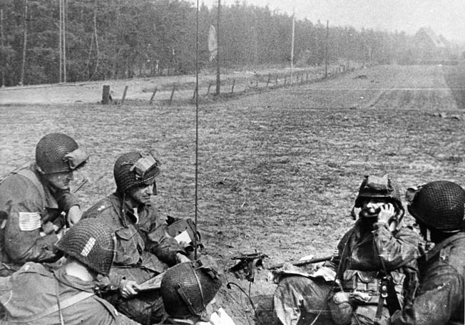 Maj. Gen. William M. Miley, second from left, sets up the 17th Airborne Division's command post immediately after landing near Wesel at 3 pm, March 24, 1945.