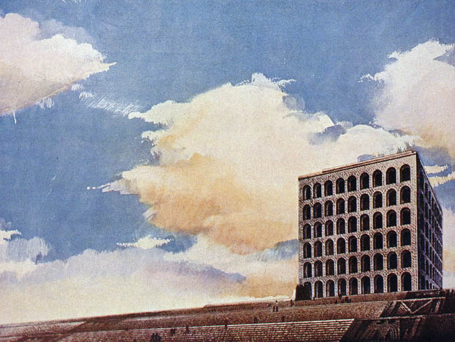 The coming of the war curtailed Mussolini's grand vision for EUR's planned buildings.