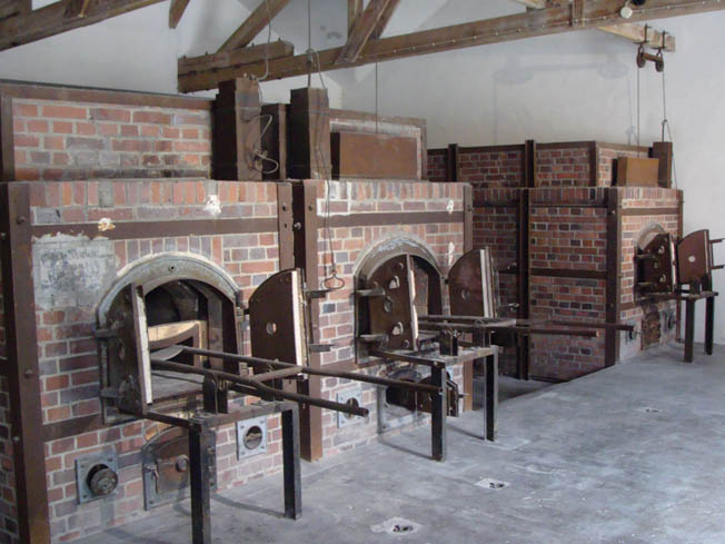 The grim ovens within the crematorium where thousands of inmates who died at Dachau during its 12 years of existence were disposed of.