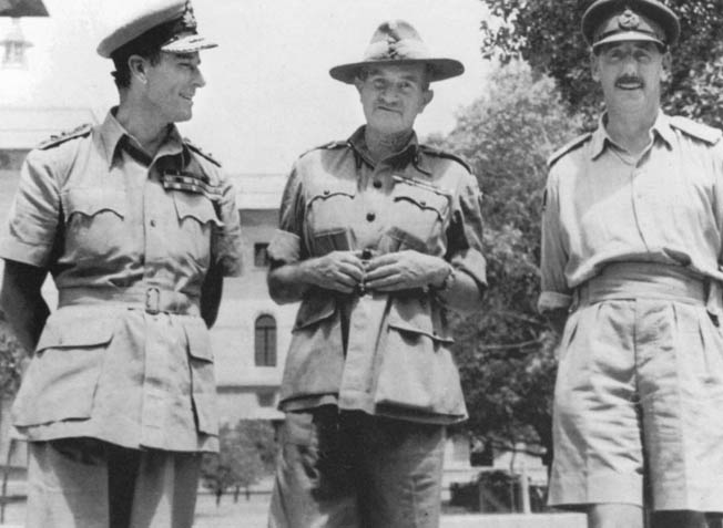 Admiral Lord Louis Mountbatten, Supreme Allied Commander in South East Asia, chats with Lt. Gen. Sir William Slim, commanding the British 14th Army in Burma.