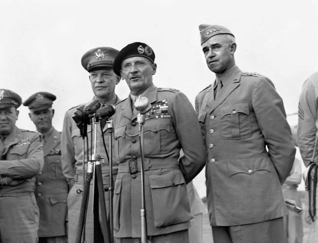 Architects of the Allies' Operation Cobra, the breakout from the Normandy beachhead: General Dwight D. Eisenhower (left), Field Marshal Bernard L. Montgomery, and Lt. Gen. Omar N. Bradley.