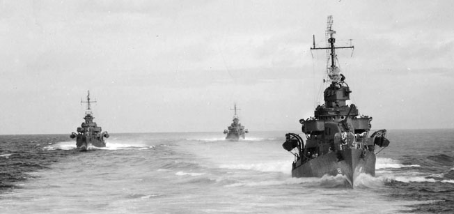 U.S. Navy destroyers, including Nicholas and O'Bannon, heading to Tulagi and Guadalcanal.