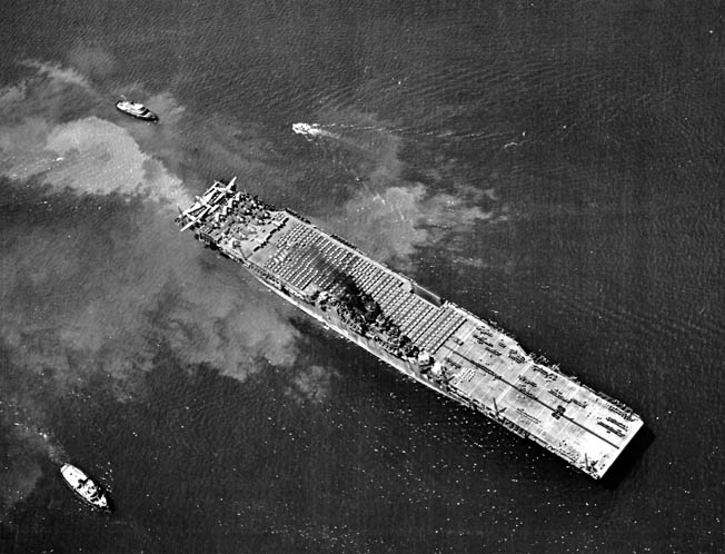 Ed Reynolds and Yorktown steam back into Pearl Harbor, Hawaii, for training and refitting, May 11, 1944.