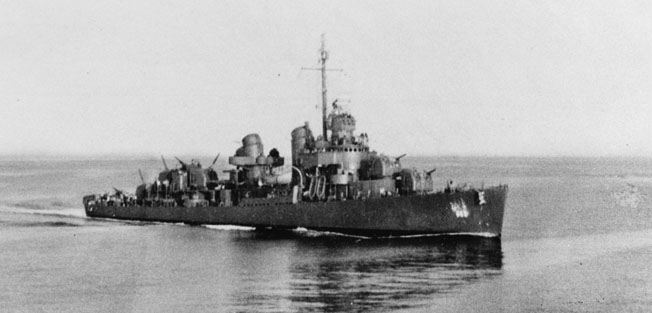 The DeHaven, part of Task Group 67.5, photographed on January 30 as part of General Alexander Patch's operation to flank Japanese forces on Guadalcanal