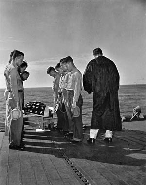 Burial at sea for sailor Kenneth Rayford, who died of a heart attack aboard the Yorktown on November 16, 1943.