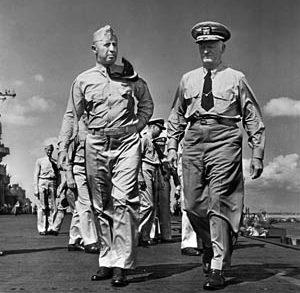 The carrier's captain, Joseph J. Clark (left), and Admiral Chester Nimitz aboard the Yorktown.