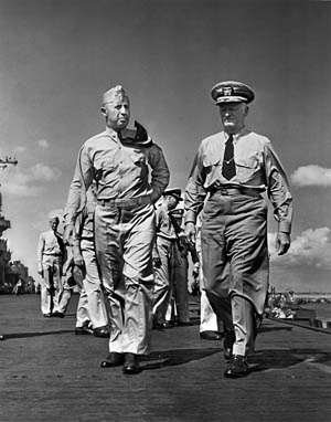 The carrier's captain, Joseph J. Clark (left), and Admiral Chester Nimitz aboard the Yorktown.
