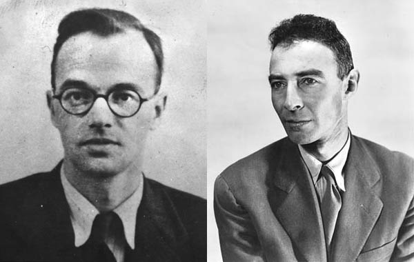 Communist spy Klaus Fuchs (left) gave A-bomb secrets to Soviet agents. Top scientist J. Robert Oppenheimer (right) headed the Manhattan Project despite his communist affiliations.