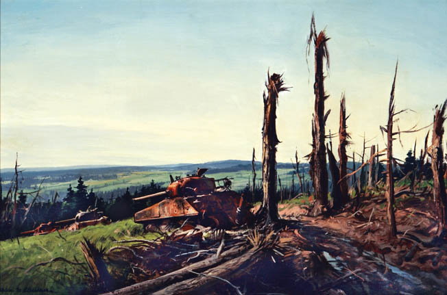 Artist Ogden Pleissner captures the bleakness of the forest in which artillery shelling shattered trees, showering soldiers with deadly splinters. Five American infantry divisions were committed to the protracted battle before it was over.
