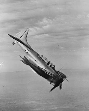 The Douglas A-24 Dauntless dive bomber, Army counterpart of the Navy SBD, with certain modifications to meet Army requirements. It was designed for dive-bombing operations against ground troops and installations.The Dauntless was more maneuverable than the German Stuka and was capable of carrying heavier bomb loads.