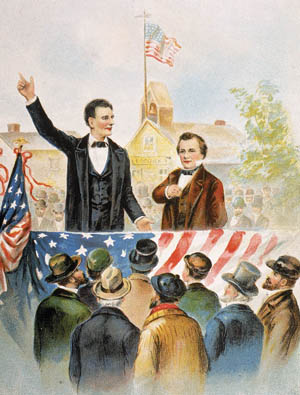 This period image gives a romanticized view of the two longtime rivals. Neither they nor their crowds were quite so well dressed or well behaved as they are shown to be here.