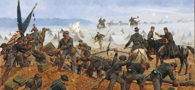 While Union commander Phil Sheridan was in Washington,Confederate soldiers crept over the Massanuteen Mountain to fall on his army at Cedar Creek.