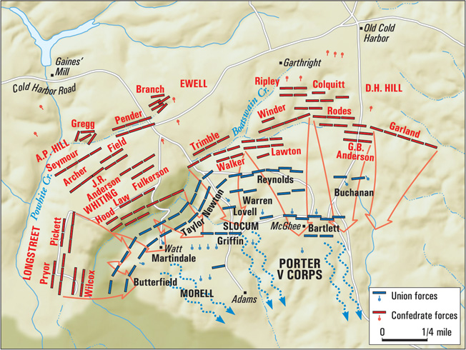 General Robert E. Lee ordered his entire line forward at the end of the day, dislodging the entrenched Union forces.