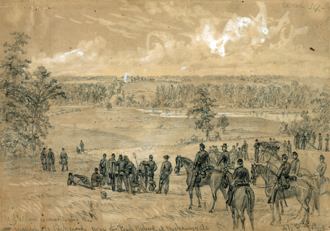 Maj. Gen. George B. McClellan, commander of the Army of the Potomac, surveys the approach to Richmond during the Battle of Mechanicsville. General Robert E. Lee's offensive put Union forces on the north bank of the Chickahominy River in danger of destruction.