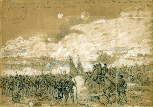 Brigadier General George Sykes' crack U.S. regulars defend the Union right flank against a spirited attack by Maj. Gen. Daniel Harvey Hill's division in a sketch by battlefield artist Alfred Waud.