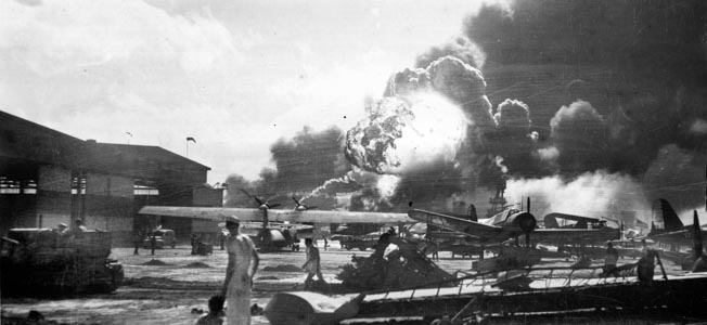 The USS Shaw explodes after a direct hit by a Japanese bomber. Japanese spies furnished regular and comprehensive updates on deployments to the U.S. naval base at Pearl Harbor, as well as information on key ship arrivals and departures.