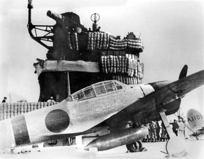 A Mitsubishi A6M Zero fighter plane takes off from the deck of the Japanese aircraft carrier Akagi, part of the Japanese Naval force in the Indian Ocean.