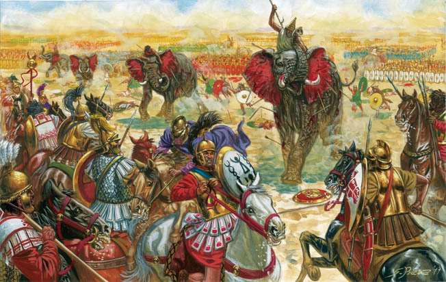 Hannibal's elephants charge Scipio's skirmishers and cavalry. Unlike earlier paintings, the elephants in artist Giuseppe Rava's modern work are smaller and the soldiers atop them do not fight from wooden towers.