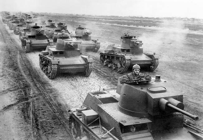 A battalion of Polish 7TP light tanks, photographed on maneuvers near the German border in April 1939, had no chance against German panzers and Stuka dive bombers.