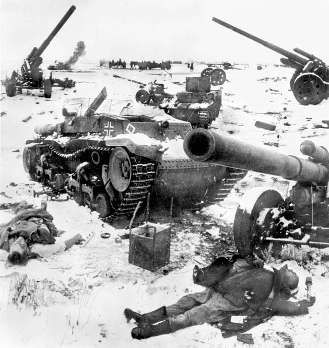 A graveyard of German, tanks, guns, and personnel litter a snowy landscape outside Stalingrad, December 1942. Despite near-superhuman efforts, Manstein's rescue force was unable to free Paulus's trapped Sixth Army.