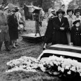 Unidentified family members of Pvt. Felix Longoria of Three Rivers, Texas, observe a moment of silence beside his flag-draped casket in Arlington National Cemetery, Va., Feb. 16, 1949.  Longoria was killed on a volunteer mission during World War II in the Philippines, where his remains were recovered in 1948 and sent to Three Rivers cemetery for burial.  When the funeral director refused the use of his chapel on the grounds that Longoria was Mexican, the American G.I. Forum, a Mexican American civil rights group, wrote to Sen. Lyndon B. Johnson, who arranged for a burial with full military honors at Arlington Cemetery.  (AP Photo/LBJ Presidential Library)