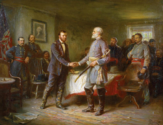 Ulysses S. Grant and Robert E. Lee shake hands after concluding the surrender terms at Appomattox. Davis hoped that Confederate forces still in the field would continue the war despite Lee's surrender.