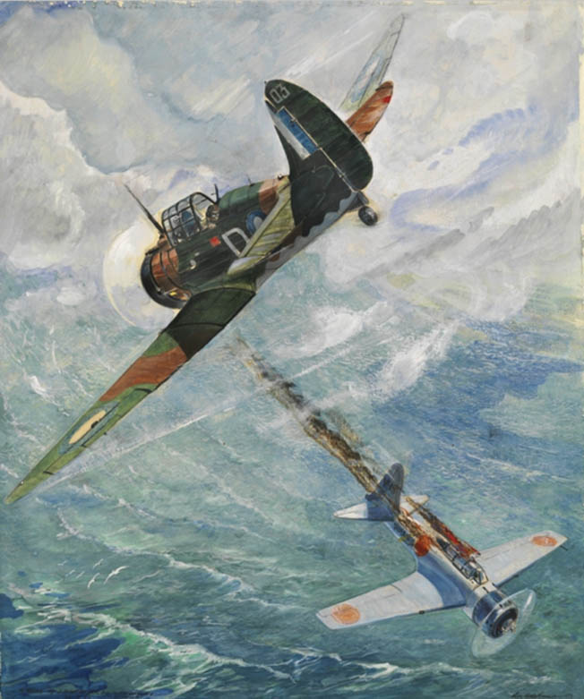 In this painting, a Royal Australian Air Force Wirraway fighter flown by Pilot Officer J.S. Archer scores a rare aerial victory over a Japanese Zero in the skies above Sanananda.fighter early in the war in the Pacific.