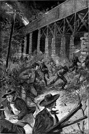 "East Tennessee Unionists set fire to a railroad trestle on ""the Night of the Burning Bridges,"" November 8, 1861. Arsonists struck from Bridgeport, Alabama, to Strawberry Plains, Tennessee, causing a wave of panic to sweep across the South."
