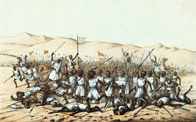 Sir Garnet Wolseley's relief expedition defeated the Mahdist Sudanese army at Abu Klea in January 1885, but Wolseley failed to appreciate the urgent need to lift the siege of Khartoum. The result was the Mahdi's brutal massacre of the gar- rison and 4,000 civilians.