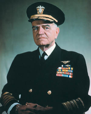 "Admiral William F. ""Bull"" Halsey earned a legendary reputation for daring and boldness as commander of the U.S. Third Fleet."