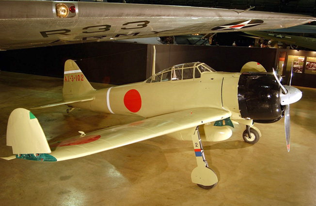 A Mitsubishi A62M Zero is a popular exhibit in the Air Power Gallery.