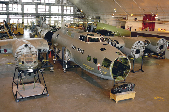 "Restoration begins on the B-17F ""Memphis Belle."""