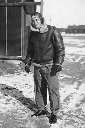 2nd Lt. Al Boam on a sunny but cold day at Casper Army Air Field in Wyoming, January 1944.