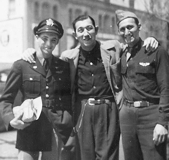 2nd Lt. Al Boam (left) poses with an Army buddy (right) and Rags Ragland, a comedian who appeared in many MGM films, photographed in Hollywood, California, while Boam was on leave before heading overseas.