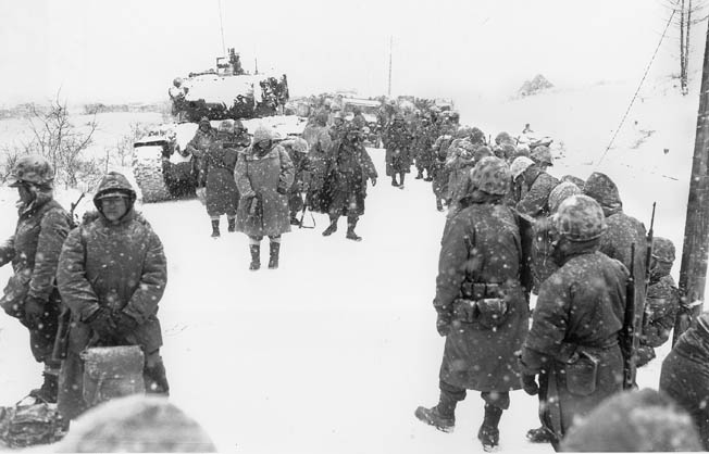 During the Korean War, U.N. forces retreating to the 38th Parallel were stalled at Funchilin Pass when a section of the bridge was blown.