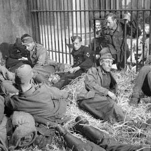 German prisoners are housed temporarily in a lion cage at the Antwerp Zoo, September 5, 1944.