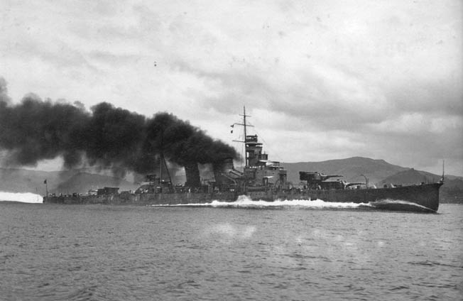 The Japanese flagship, the cruiser Aoba, was battered by American shells even as Admiral Goto believed he was enduring friendly fire. Goto died on the cruiser's deck during the battle.