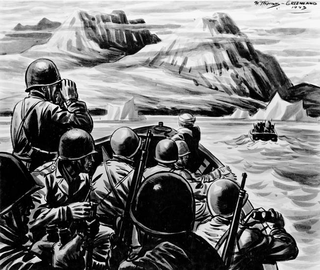In this sketch by U.S. Coast Guard artist Norman Thomas, U.S. Army troops and Coast Guardsmen scan the coastline of Greenland before landing there in search of Germans operating in the area. These Americans were under the auspices of the U.S. Navy's Greenland Patrol Expeditionary Force.