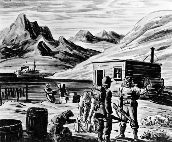 The harsh, unforgiving Arctic climate of Greenland took its toll on the men of both sides who tried to gather weather data there. In this sketch, U.S. Coast Guardsmen bring supplies to a base camp on Greenland, while the ship that has delivered the vital materiel lies at anchor in a secluded bay.