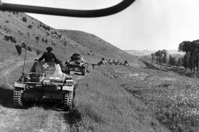 Generalmajor Erwin Rommel took this photo of the German Panzers of his 7th Panzer Division advancing through the rolling terrain of northeastern France.