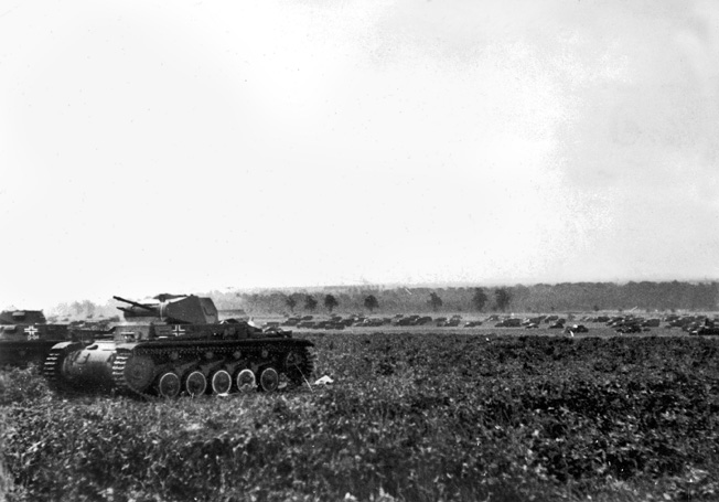 A German Panzer II in action near Arras. The Germans had approximately 600 newer Panzer IIIs and Panzer IVs to add weight to their blitzkrieg in France.