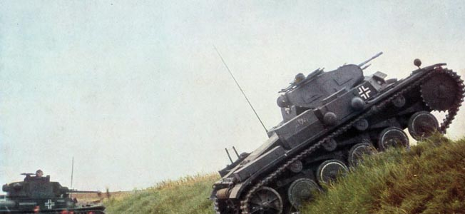 Panzers spearhead the German drive to the English Channel in May 1940. The British sought to blunt the drive with a coordinated attack by two parallel columns.