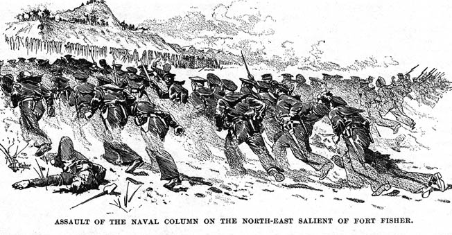"Union sailors charge the fort on foot, taking heavy losses before falling back. ""It was sheer murderous madness,"" one survivor recalled."