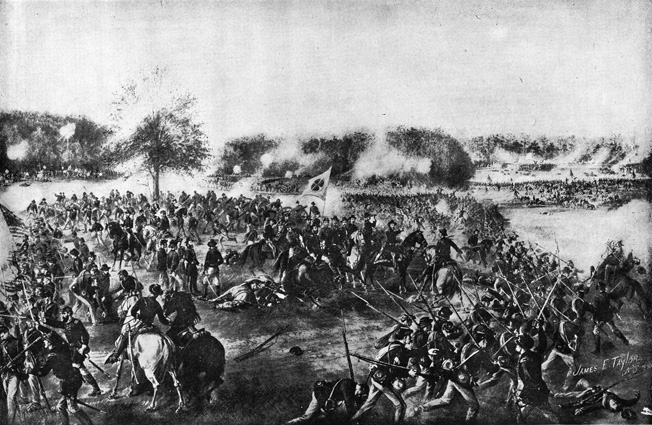 Maj. Gen. Grenville Dodge, pointing at center right, deploys Brig. Gen. Thomas Sweeny's division to defend the Union left flank at Bald Hill. After the war, Dodge became a wealthy railroad baron.