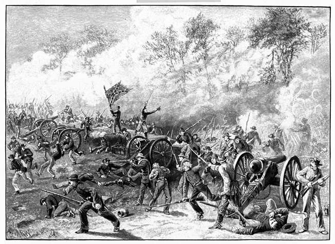 Manigault's Confederates overrun Battery H of Captain Francis DeGress's Union artillery near the Troup Hurt House. The resourceful DeGress later remanned the battery with handy infantrymen.
