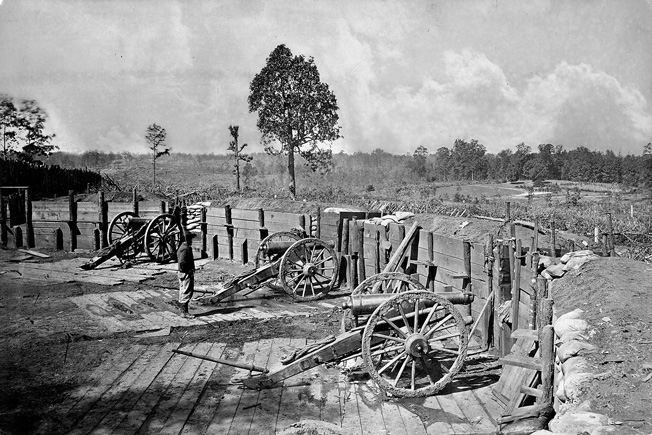 Abandoned Confederate defensive works at Atlanta, photographed after their capture by Union forces.