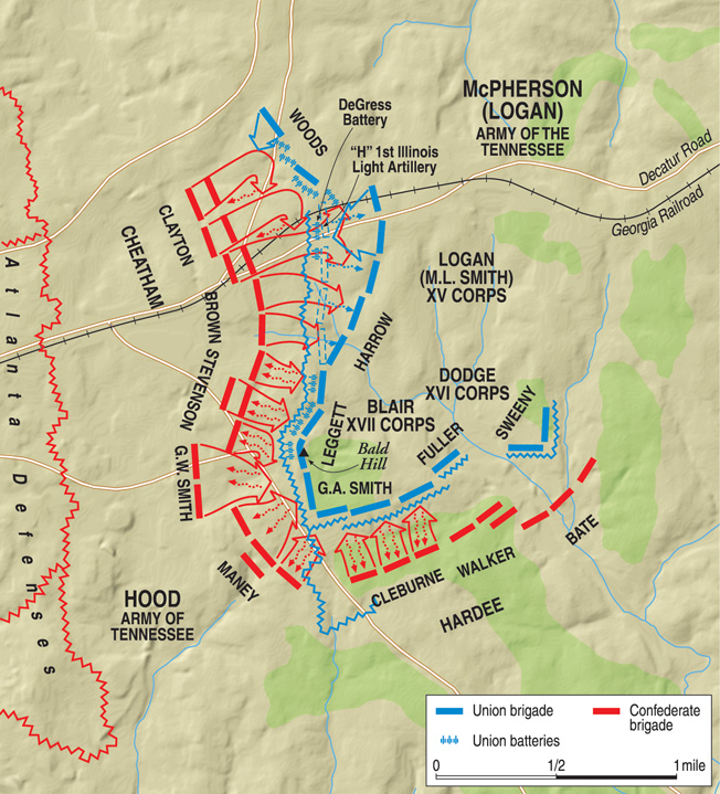 By 3 pm, Maj. Gen. Benjamin Franklin Cheatham's 14,000-man corps had finally gotten into action north of the Georgia Railroad on the Confederate left. Cheatham's costly breakthrough was not exploited.