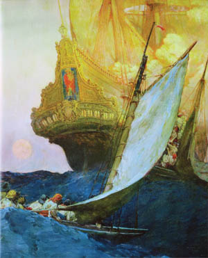English pirates approach a Spanish galleon in a painting by premier pirate illustrator Howard Pyle. In the late 16th century, England increasingly turned to privateers to attack Spanish treasure ships and cities to help finance its own empire.